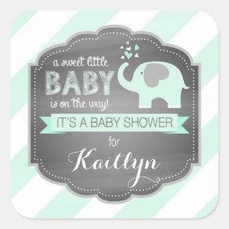 Seafoam Elephant Diagonal Stripe Baby Shower Square Sticker