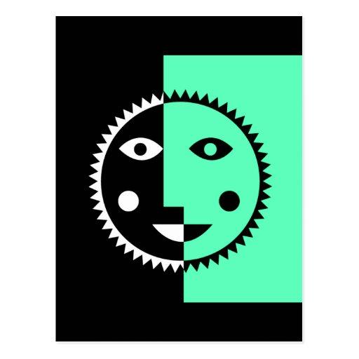 Seafoam Green Abstract Sun Postcard