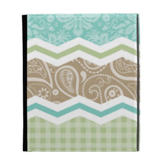 Seafoam Green and Light Brown Country Patterns iPad Folio Covers