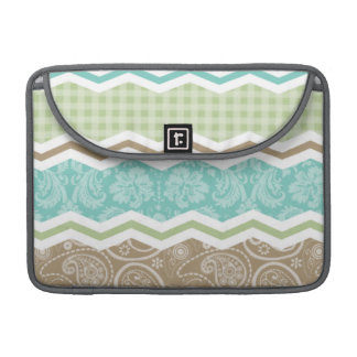 Seafoam Green and Light Brown Country Patterns MacBook Pro Sleeve