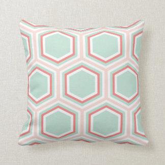 Seafoam Green and Orange Hexagon Pattern Throw Pillow