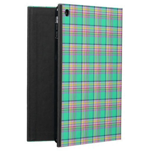Seafoam Green and Pink Girly Plaid iPad Air Case