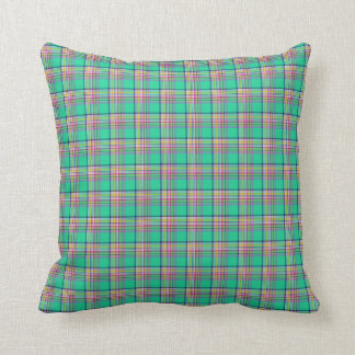Seafoam Green and Pink Girly Plaid Throw Pillow