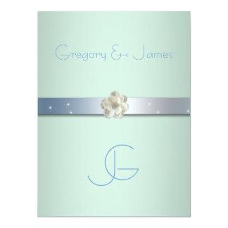 """Seafoam Green and Silver Gay Wedding Invitation 6.5"""" X 8.75"""" Invitation Card"""