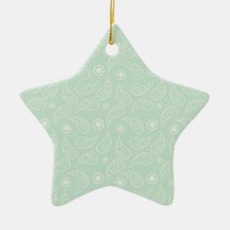 Seafoam Green Country Paisley Ceramic Star Decoration