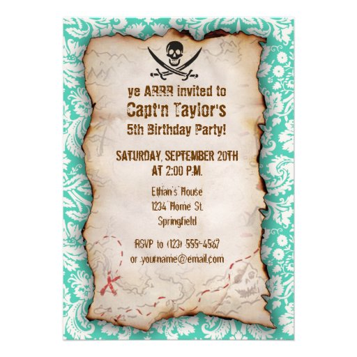 Seafoam Green Damask Jolly Roger Personalized Announcement