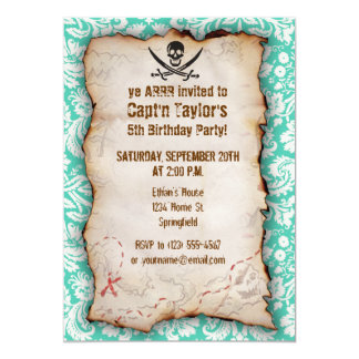 Seafoam Green Damask Jolly Roger 5x7 Paper Invitation Card