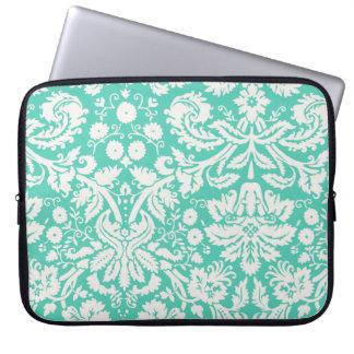 Seafoam Green Damask Laptop Sleeve