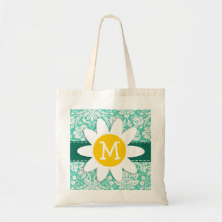 Seafoam Green Damask; Spring Daisy Tote Bag