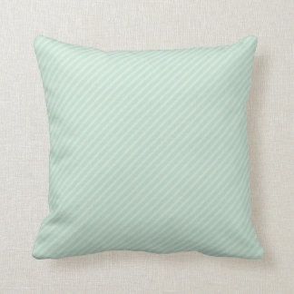 Seafoam Green Diagonal Stripes Cushion