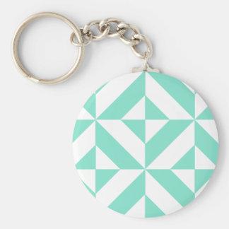 Seafoam Green Geometric Deco Cube Pattern Key Chains