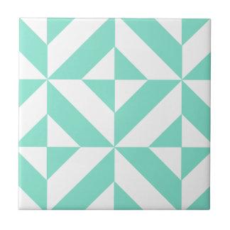 Seafoam Green Geometric Deco Cube Pattern Small Square Tile
