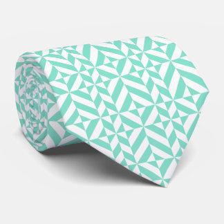 Seafoam Green Geometric Deco Cube Pattern Tie
