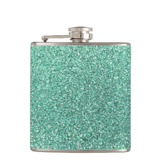 Seafoam green glitter hip flask