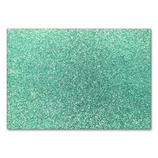 Seafoam green glitter table cards