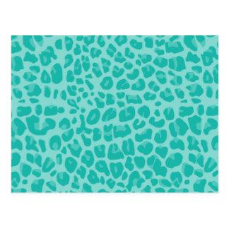 Seafoam green leopard print pattern postcard