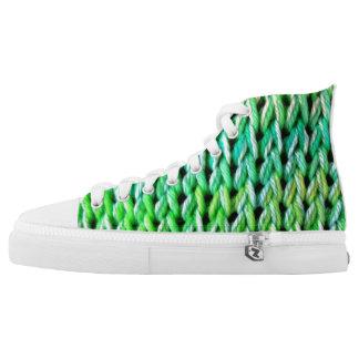 Seafoam Green Mermaid High Tops Printed Shoes