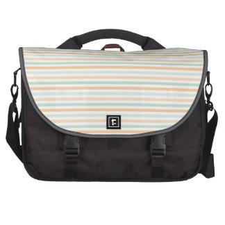 Seafoam Green, Peach, and White Stripes Laptop Bag