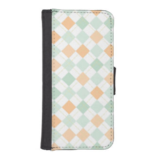 Seafoam Green, Peach, White Checkered Argyle Phone Wallet Case