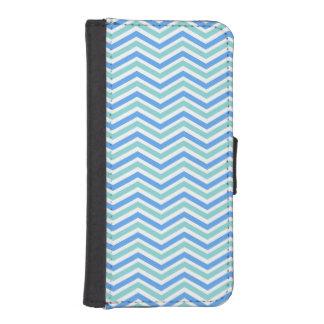 Seafoam Green, Sky Blue, White Chevron Stripes Phone Wallets