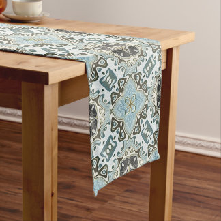 Seafoam Green Teal Turquoise Bali Batik Pattern Medium Table Runner