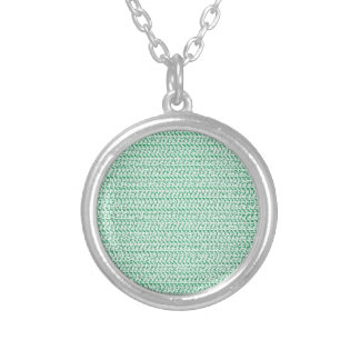 Seafoam Green Weave Mesh Look Round Pendant Necklace