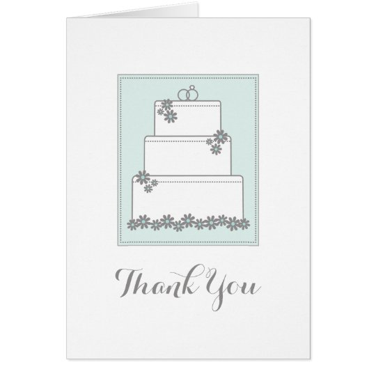 Seafoam Green Wedding Cake Thank You Notecard