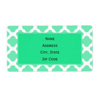 Seafoam Mint Green Quatrefoil Pattern Shipping Label