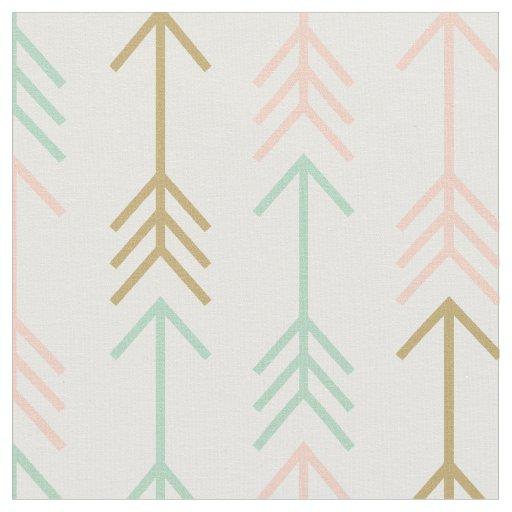 Seafoam Peach and Gold Arrows Fabric