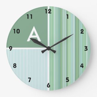 Seafoam, Sage Green, & Baby Blue Stripes Large Clock