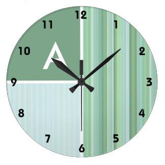 Seafoam, Sage Green, & Baby Blue Stripes Wall Clocks