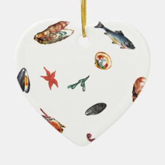 seafood ceramic heart decoration