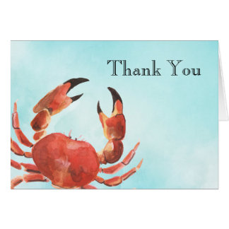 Seafood Crab Watercolor Thank You Card