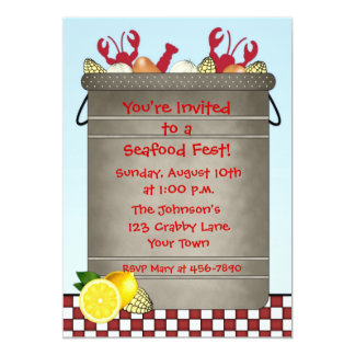 "Seafood Party 5"" X 7"" Invitation Card"