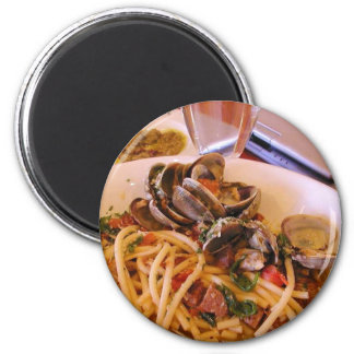 Seafood Pasta Clams Food 6 Cm Round Magnet
