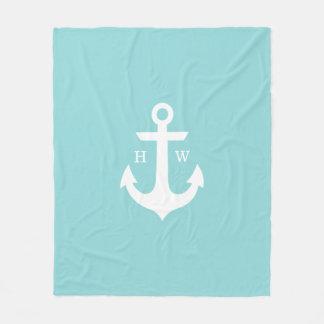 Seaglass Anchor Nautical Monogram Fleece Blanket