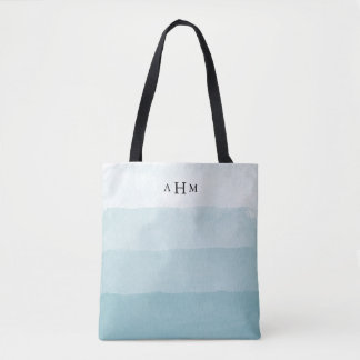 Seaglass Aqua Watercolor Ombre Monogram Tote Bag