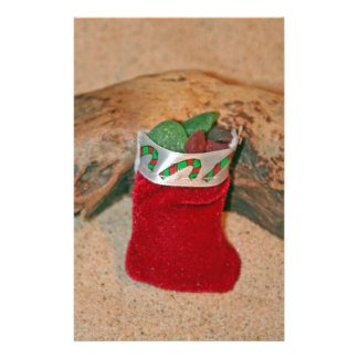 Seaglass Christmas Stocking Stationery Paper
