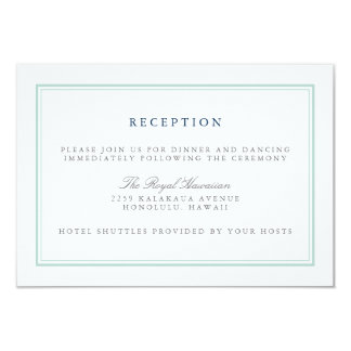 Seaglass Tides Wedding Reception Card