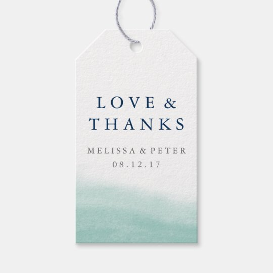 Seaglass Tides Wedding Thank You Favour Gift Tags