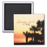Seagrove Florida palm tree sunset Square Magnet
