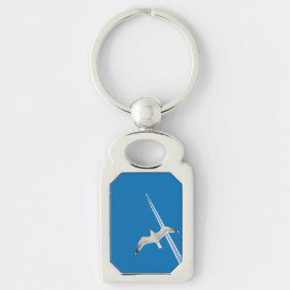 Seagull and airplane Silver-Colored rectangle key ring