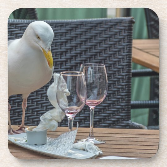 Seagull and empty glasses hard plastic coasters