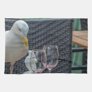 Seagull and empty glasses kitchen towel
