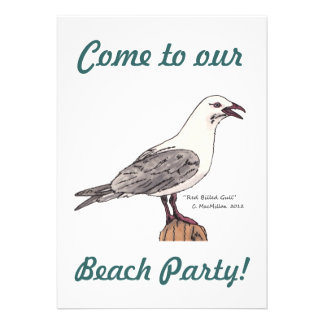 Seagull Beach Party Invitations