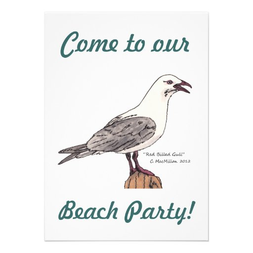 Seagull Beach Party Invitations