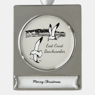 Seagull  East Coast Beachcomber Christmas ornament Silver Plated Banner Ornament