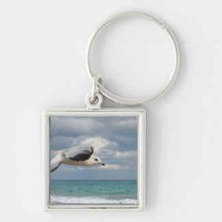 Seagull Flight Silver-Colored Square Key Ring