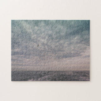 Seagull flying under a cloudy sky jigsaw puzzle