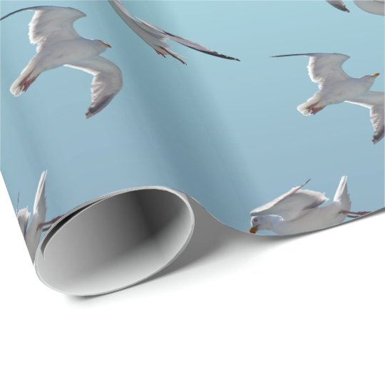 Seagull Frenzy Wrapping Paper (Sky Blue Mix)
